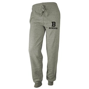 Front view of gray sweatpants with black imprint of B over BOWDOIN on left thigh.