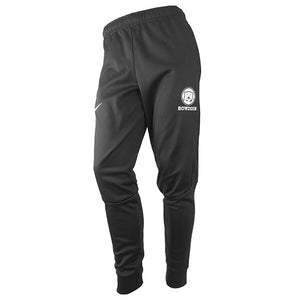 Black tapered sweatpants with white imprint of mascot medallion over BOWDOIN on upper left leg and white Nike Swoosh on upper right leg.