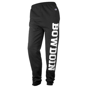 Black sweatpants with large BOWDOIN imprint in white with silver outline on left leg.