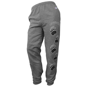 Charcoal heather sweatpants with elastic waist and cuffs. Left leg has an imprint of arched BOWDOIN over a line of 5 paw prints, in black outlined with white.