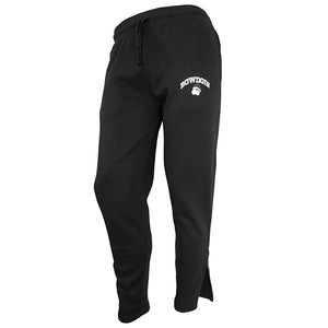 Black fleece sweatpants with a drawstring waist and zippered cuffs. The left thigh has an imprint in white of BOWDOIN arched over a polar bear paw print.