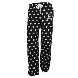 Black pants with white polka dots and drawstring at waist. White imprint of B over BOWDOIN on upper left thigh.