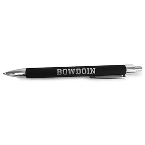 Retractable ballpoint pen with a leather-look black barrel with a silver BOWDOIN imprint. The tip, the clicker, and the clip are silver metal.