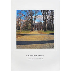 Poster of Massachusetts Hall on the Bowdoin College campus.