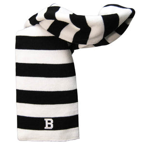 Black and white rugby striped knit scarf with embroidered B patch in white at one end, centered in a black stripe.
