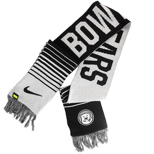 Winter scarf with stripes and knit in BOWDOIN on one side and POLAR BEARS on the other, with a mascot medallion on one end and a Nike Swoosh on the other.