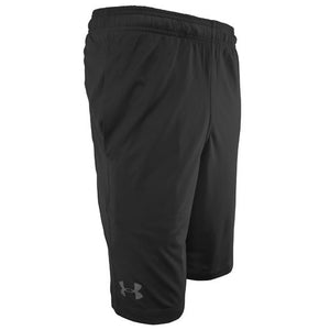 Right side view of black performance shorts showing gray UA logo on right leg.