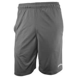 Front view of graphite gray performance shorts with small arched BOWDOIN imprint in white and gray on left leg.
