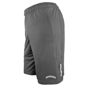 Left-side view of graphite performance shorts showing arched two-color BOWDOIN on front of left leg, and small vertical POLAR BEARS imprint in white just behind seam on left leg.