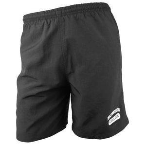 Black swim trunks with imprint of BOWDOIN in white arched over COLLEGE inside a white cartouche on lower left leg near the hem.