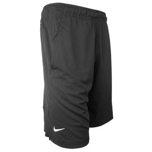 Right side view of black performance shorts showing white Nike Swoosh on right leg.