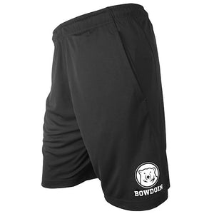 Left side view of black performance shorts showing white mascot medallion over BOWDOIN imprint on left leg.
