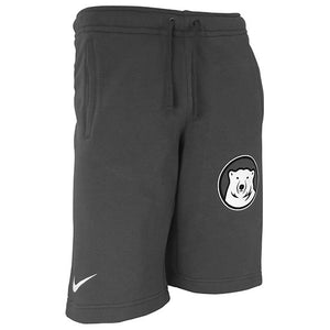 Men's dark grey shorts made of sweatshirt fleece with a small Nike swoosh in white on the hem of the outside right leg, and a larger Bowdoin mascot medallion imprint on the left leg below the thigh.