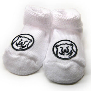 White baby socks with embroidered mascot medallion patch on top of foot.