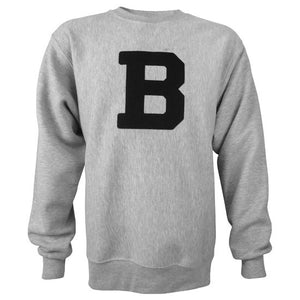An Oxford heather gray crewneck pullover sweatshirt with a large Bowdoin B embroidered on the chest in black felt.