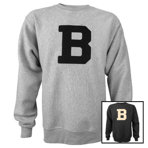 Montage of two crewneck sweatshirts with a large B on the chest. One is gray, the other is black.
