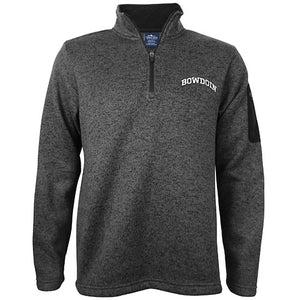 Charcoal heathered fleece 1/4-zip pullover with white embroidered arched BOWDOIN on left chest and zippered black patch pocket on upper left sleeve.