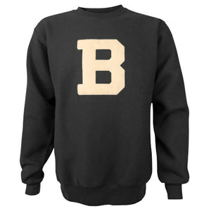A black crewneck pullover sweatshirt with a large Bowdoin B embroidered on the chest in ivory felt.