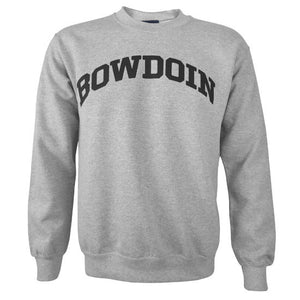 Heather gray pullover crewneck sweatshirt with black BOWDOIN arched imprint on chest.