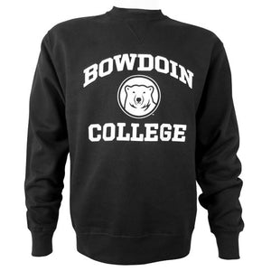 Black crewneck sweatshirt with white BOWDOIN over mascot medallion over COLLEGE imprint on chest.