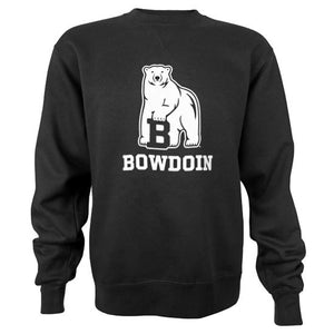Black crewneck sweatshirt with white imprint of mascot over BOWDOIN.