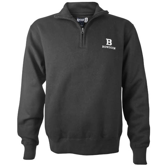 Big Cotton ¼-Zip with Embroidered B & Bowdoin