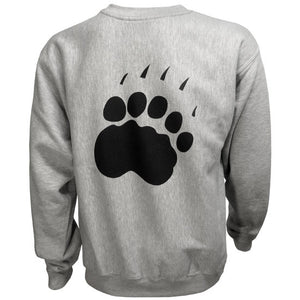 Back of gray crewneck sweatshirt showing large black paw imprint.