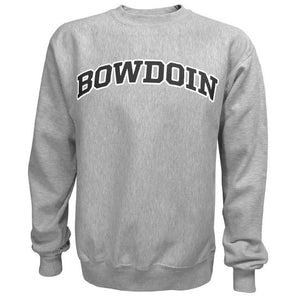 Oxford gray crewneck sweatshirt with arched BOWDOIN imprint on chest in black with white outline.