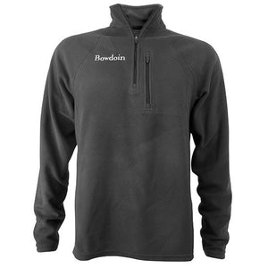 Black fleece 1/4 zip pullover with zippered chest pocket on left chest and embroidered white Bowdoin wordmark on right chest.