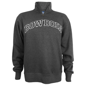 Charcoal heather 1/4 zip pullover sweatshirt with arched BOWDOIN applique in black with white outline on chest.