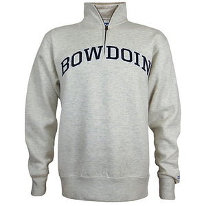 Oatmeal heather 1/4 zip pullover sweatshirt with arched BOWDOIN applique in black with white outline on chest.