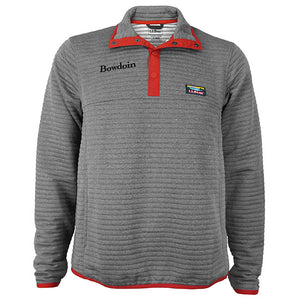 Grey quilted pullover with red trim and snaps. Bowdoin embroidered in black on right chest, and small L.L.Bean logo patch on left chest.