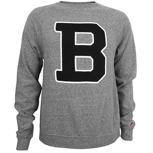 Soft gray heather crewneck sweatshirt with a large B in the official Bowdoin Collge athletic logotype on the chest. The B is black with a thin white stroke outline around it.