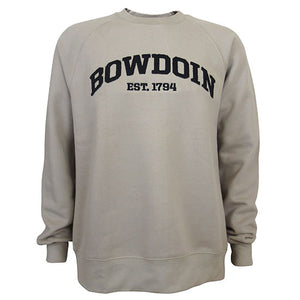 Tan crewneck sweatshirt with black arched BOWDOIN applique and black embroidered EST. 1794 on chest.