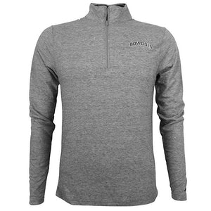 Heathered graphite fitted 1/4 zip pullover with arched BOWDOIN on left chest in black with white outline.
