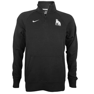 Black 1/4 zip sweatshirt with mascot on left chest.