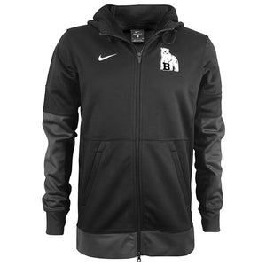 Black full-zip sweatshirt with grey panels on lower sleeves and on the cuffs and  hem. Bowdoin polar bear mascot on left chest and Nike Swoosh on right chest.