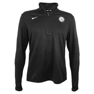 Black performance 1/4 zip pullover with white Nike Swoosh on right chest and white embroidered polar bear medallion on left chest.