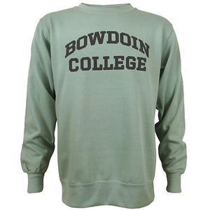 Crewneck sweatshirt in greenstone, a greyish green, with BOWDOIN arched over COLLEGE chest imprint.