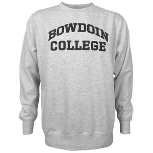 Crewneck sweatshirt in marble heather, a light grey heather, with BOWDOIN arched over COLLEGE chest imprint.