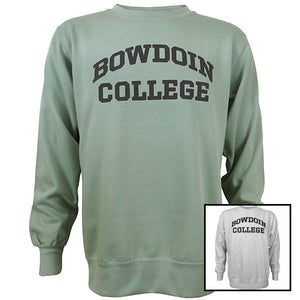 Bowdoin College Fundamental Fleece Crew shown in greenstone and marble heather.