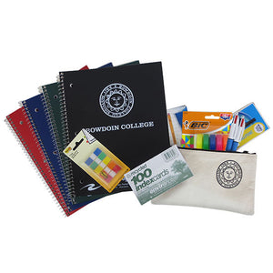 Bundle of 4 notebooks, Post-it flags, index cards, mechanical pencils, ballpoint pens, 4-color ballpoint pens, highlighters, and a canvas pencil case.