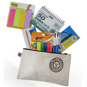 Post-it page markers, spiral-bound index cards, boxed mechanical pencils and ballpoint pens, a package of hi-liters, and 2 4-color pens spilling out of a Bowdoin pencil case.