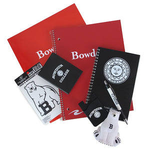 Red Bowdoin notebook and folder, Bowdoin College sticky notes, Bowdoin planner, Bowdoin cellphone ID wallet, Bowdoin retractable pen, stress bear, and mascot sticker.