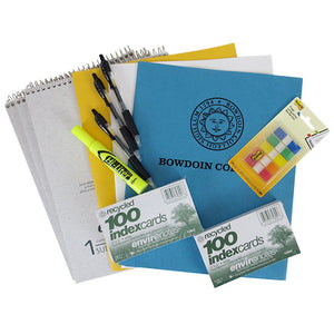 3 top-bound spiral notebooks, 3 black retractable pens, 3 embossed paper folders, a yellow hi-liter, 2 packs of index cards, and a pack of Post-it Flags.