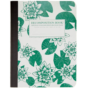 Tapebound Decomposition Book with cover imprint of water lilies and lily pads in green on white.