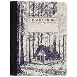Tapebound Decomposition Book with cover imprint of log cabin in forest on natural craft board.