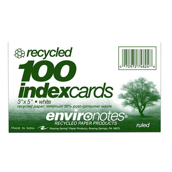 3x5 Recycled Index Cards from Roaring Spring