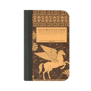 Pocket-sized tapebound Decomposition book with pegasus on cover.