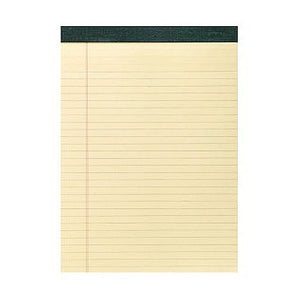 Yellow legal pad with green tape binding.